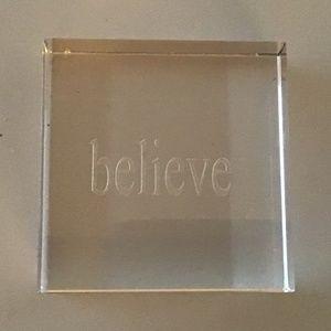 "INSPIRATIONAL ""BELIEVE""  GLASS PAPERWEIGHT"